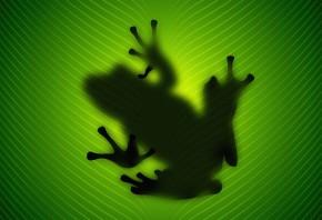 лягушка, зеленая, сидит, листик