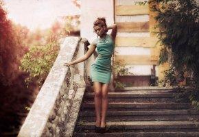 Обои фото, винтаж, платье, девушка, фигура, царапины