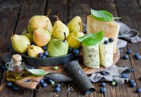 Обои груши, сыр, ягоды, голубика, тёрка, натюрморт