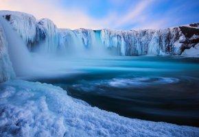 Обои лёд, исландия, водопад, снег, зима, вода