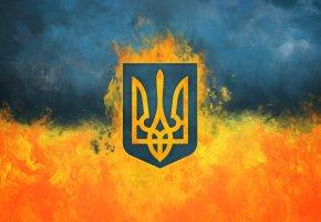 Обои Украина, Огонь, Дым, Тризуб, Герб