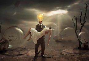 Обои лампочки, отчаяние, печаль, безнадежность, свет, фантазия