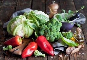 Обои перец, красный, капуста, брокколи, овощи, масло, соль