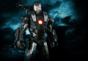 Обои железный человек, Iron Man 2, костюм, робот, пушка, броня