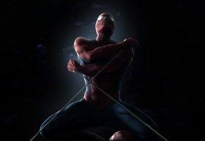Обои тень, человек-паук, паутина, костюм