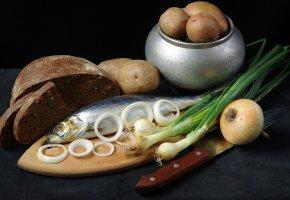 Обои селедка, лук, картошка, хлеб, рыба