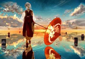 Обои зонт, девушка, облака, небо, закат, кимоно, отражение, вода