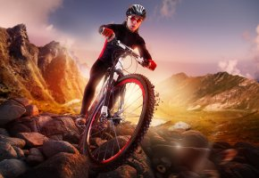 Обои велоспорт, велосипедист, камни, грязь, спортсмен, шлем, очки
