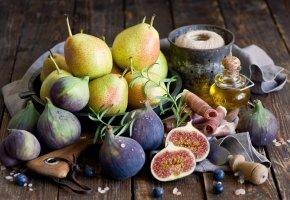 Обои груши, инжир, ветчина, фрукты, масло