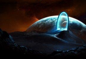 Обои портал, человек, ворота, свет, космос, планета