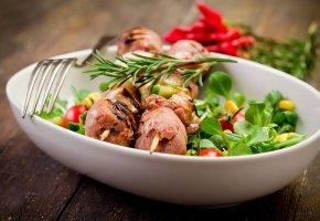 Обои блюдо, мясо, вилка, тарелка, шашлык