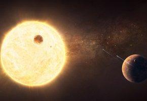 Обои звездная система, спутник, планеты, солнце, корабли, огни, пустота