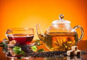 Обои напитки, чай, заварник, сахар, мята