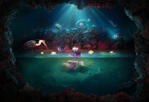 Обои пещера, вода, младенец, ребенок, рождение, птица, лилия