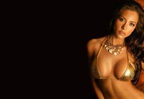 Обои ursula mayes, грудь, купальник, красавица, макияж, модель