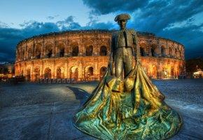 Обои памятник, матадор, Рим, Франция, амфитеатр