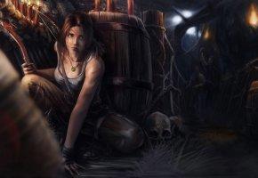 Обои tomb raider, лара крофт, расхитительница гробниц, череп, бочки, бандиты, фа ...
