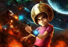 Обои мальчик, шлем, взрыв, планета, звезды, оружие, браслет, фантастика, улитка