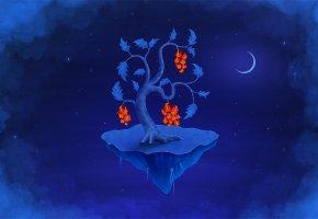 Обои фон, остров, дерево, подарки, ночь, луна, звезды