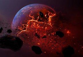 Обои земля, Мертвая планета, метеорит, planet, взрыв, осколки