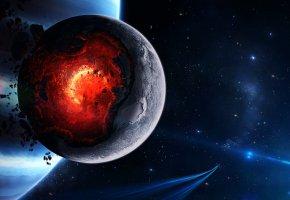 Обои космос, cataclysm, катаклизм, space, планета, взрыв, обломки
