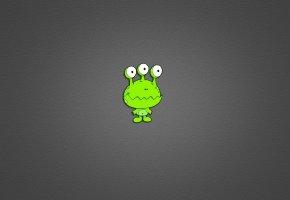Обои инопланетянин, пришелец, три глаза, зеленый, минимализм, серый фон
