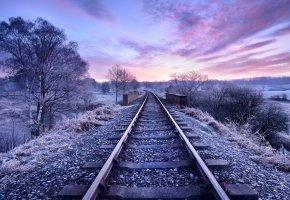 Обои железная дорога, зима, пейзаж, лед, шпалы, облака