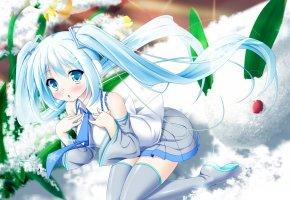 Обои девочка, белые волосы, галстук, снежинка, снег, растения, цветы