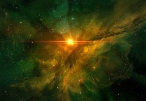 Обои звёзды, сияние, свет, туманность, взрыв, планеты