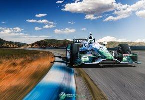 Обои болид, IndyCar, трасса, скорость, в движении