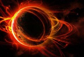 Обои планета, вселенная, звезды, траектория, огни, черная материя