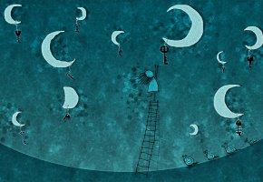 Обои рисунок, настроение, луна, ключи, девочка, лестница, улитки
