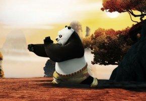 Обои По, кунг фу, панда, мультфильм, Kung fu panda