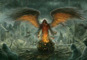 Обои Город, руины, солдаты, ангел, крылья, котел, нежить