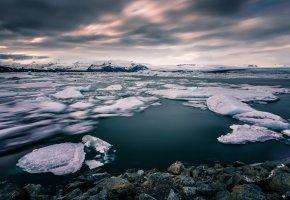 Обои Скандинавия, зима, океан, берег, горы, льдины