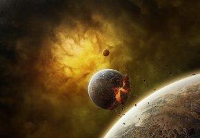 Обои планеты, взрыв, осколки, туманность, звезды