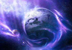 Обои colors, light, Planet, планеты, туманность, звезды, темнота, пустота