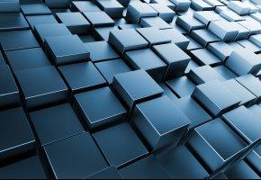 Обои куб, 3д, темный фон, кубики, графика