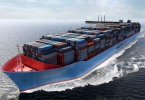 Обои судно, контейнеровоз, Maersk, корпус, груз, борт