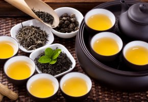 Обои чай, чашки, пиалы, чайник, заварка, церемония