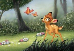 Обои Bamby, Walt Disney, forest, Бэмби, Уолт Дисней, оленёнок, лес, цветы, деревья