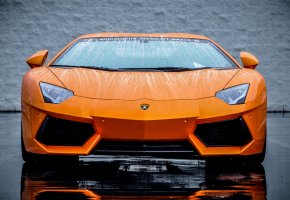 ���� Lamborghini, Aventador, LP700-4, Orange, ���������, Supercar, ��������, �������