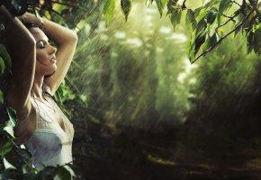 Обои Девушка, мокрая, дождь, лето, волосы, руки