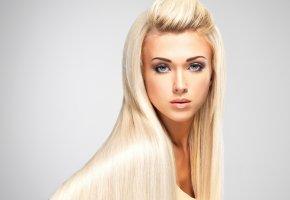 Обои девушка, блондинка, волосы, длинные, лицо, взгляд, макияж, глаза, губы, фон ...