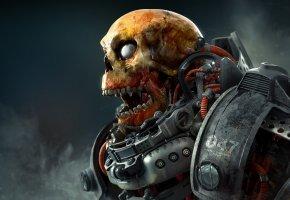 Обои череп, мертвец, костюм, смерть, киборг