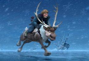 Обои frozen, ледяное сердце, олень, снег, рога