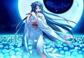 Обои ание, девушка, кимоно, луна, ночь, цветы, флейта