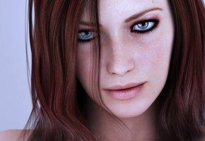 Обои лицо, веснушки, глаза, губы, взгляд, русые волосы
