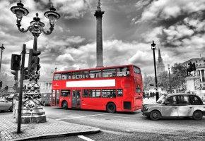 Обои england, street, лондон, дорога, автобус, фонари, улица