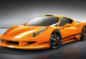 ���� Ferrari, 458, Italia, orange, supercar, �������, ����, ������, ���������, ��������